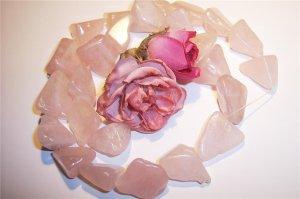 """ROSE QUARTZ Triangular NUGGET Beads 16"""" Strand"""