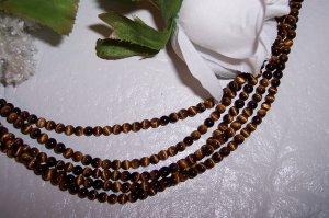 "ROARING!! TIGER EYE 4mm ROUND Beads 16"" Strand"