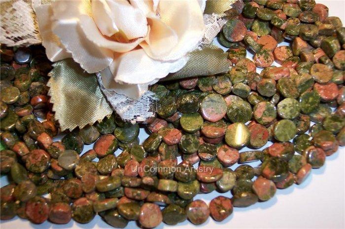 """UNAKITE 5-9mm DISC Beads 16"""" Strand"""