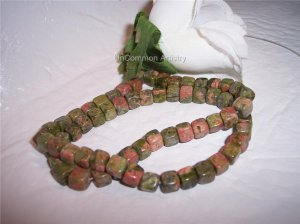 "UNAKITE 6mm CUBE Beads 15"" Strand"