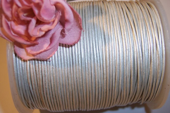 LEATHER CORD 2mm PEARL SILVER  5 yards