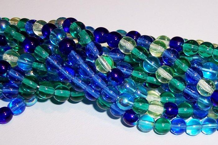 LAGOON MIX Czech DRUK  4mm Beads 100