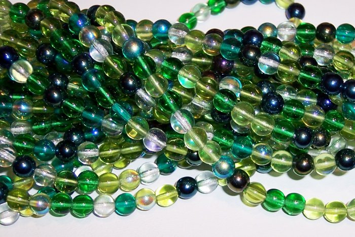 EVERGREEN MIX Czech DRUK  6mm Beads 50