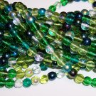 EVERGREEN MIX Czech DRUK  6mm Beads 50