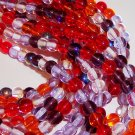 STRAWBERRY FIELDS MIX Czech DRUK  4mm Beads 100