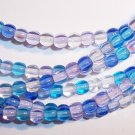 CARIBBEAN BLUE MIX Czech  4mm DRUK Beads 100