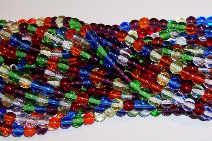 RAINBOW MIX Czech  6mm DRUK Beads 50