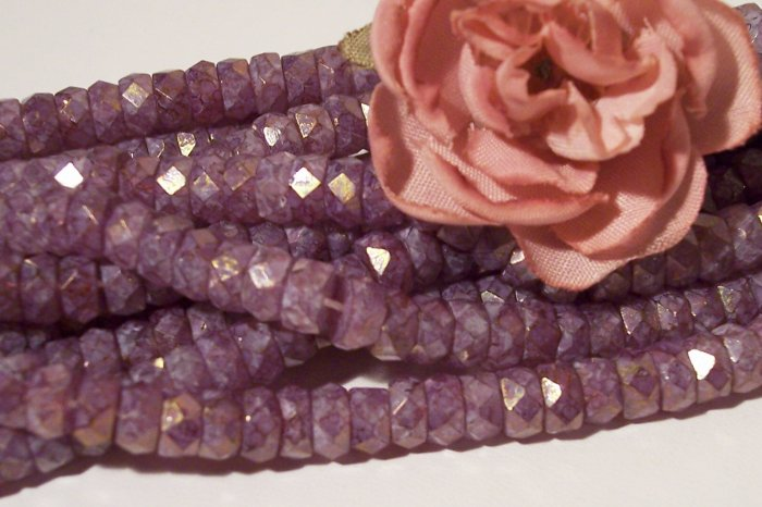 STONE PINK Fire Polish 6x3mm Faceted Rondelles q.25