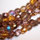 WHEATBERRY MIX Czech Fire Polish  8mm Beads 50