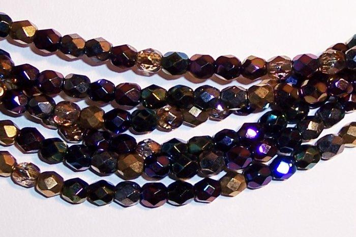 HEAVY METALS MIX Czech Fire Polish  4mm Beads 50