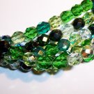 EVERGREEN MIX Czech Fire Polish  6mm Beads 50