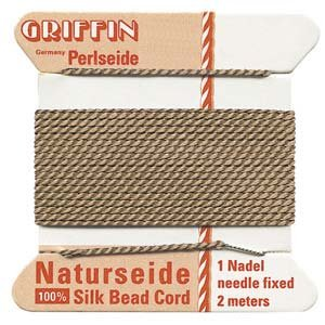 GRIFFIN Silk Bead Cord & Needle BEIGE Size 2