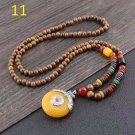 11  Costume jewelry ladies natural wooden beads long necklace .