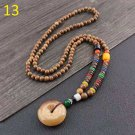 13  Costume jewelry ladies wooden beads long necklace