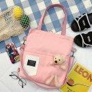 Women's Large Travel shopping bag purse  Handbag Ladies Tote shoulder canvas bag [pink bag and Bear]