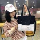 Women girl's canvas Travel, shopping, purse handbag shoulder bag [Black and White colour]