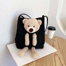 Women girl's canvas handbag shoulder bag .    Black bag