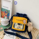 Girl's small canvas shoulder, bag for girls shopping travel and school.[Free doll]