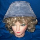 UNUSUAL DUSKY BLUE VELVET BONNETT WITH BRAID TRIM
