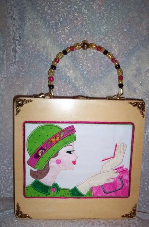 NEW RETRO EMBROIDERED SIXTIES GIRL ON A BOX PURSE