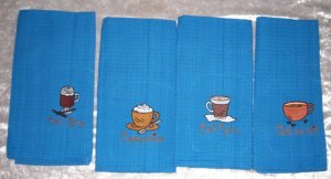 EMBROIDERED COFFEE LOVER DESIGN KITCHEN TOWELS