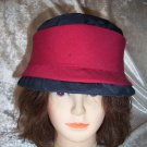 VINTAGE BLUE ORGANZA HAT WITH WIDE RED BAND