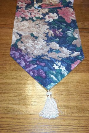 NEW  DARK FLORAL  TABLE RUNNER WITH TASSELS