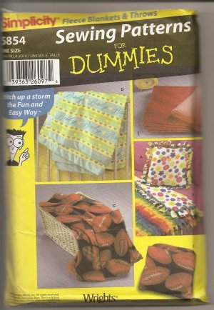 SIMPLICITY SEWING PATTERNS FOR DUMMIES ~FLLEECE BLANKET