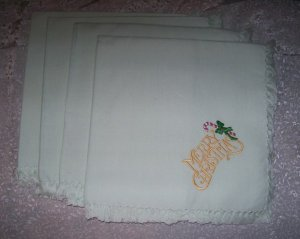 4 CLOTH MACHINE EMBROIDERED NAPKINS~MERRY CHRISTMAS