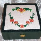 WOODEN TREASURE BOX ~ EMBROIDERED HEART TOP