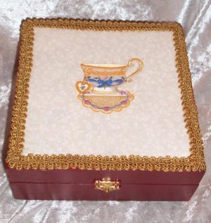 WOODEN TREASURE BOX ~ EMBROIDERED GRANDMOTHER TEACUP