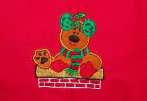 BEAR EMBROIDERED CHRISTMAS APRON~ONE SIZE FITS ALL~WILL PERSONALIZE FOR FREE