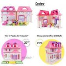 Boley Pretend Play American Doll House Toy Playset - 21-Piece Portable Dollhouse