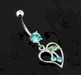 HEART w/ AQUA CZ CHERRIES AND MATCHING GEM