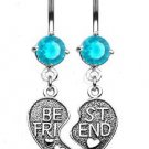 """BEST FRIENDS""AQUA NAVEL RING"