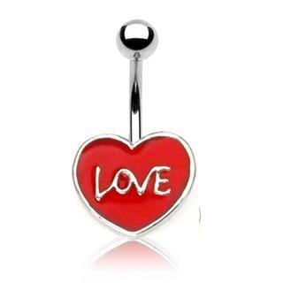 """ENAMEL HEART """"LOVE"""" NAVEL"""