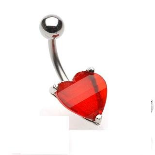 Navel Ring w/ Prongset Red Heart CZ