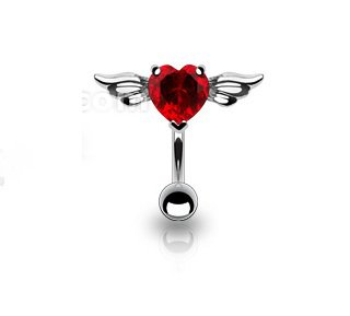 Top Down Angel Winged 8mm Heart CZ