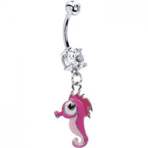 Pink Sea Horse Belly Ring