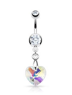 Silver Prism Heart Navel Ring