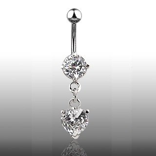 Clear Dangling CZ Heart Navel Ring