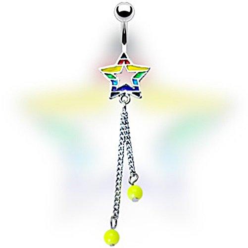 Rainbow Star and Double Bead Dangle