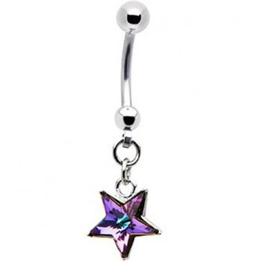 Handcrafted Austrian Crystal Vitrail Light Star Belly Ring