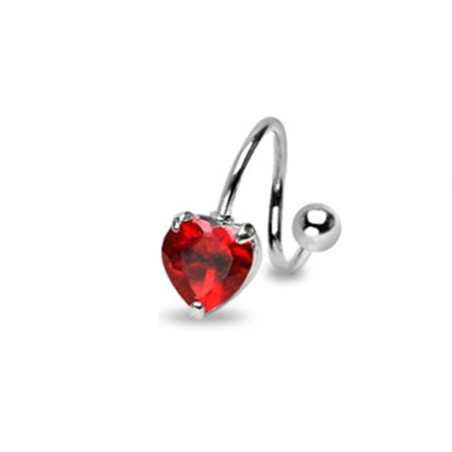 SPIRAL RED HEART NAVEL RING