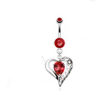 Vintage Heart w/Red Gems Navel Ring