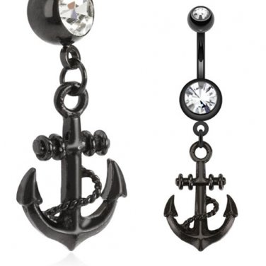 Black IP Surgical Steel Anchor Dangle Navel Ring