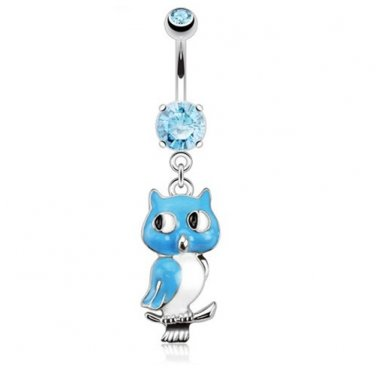 Owl Dangle with Double Aqua CZ Navel Ring