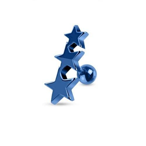 Three Blue Stars Tragus/Cartilage Piercing Stud