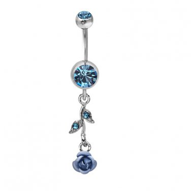 Double Blue Rose w/Leaf Navel Ring