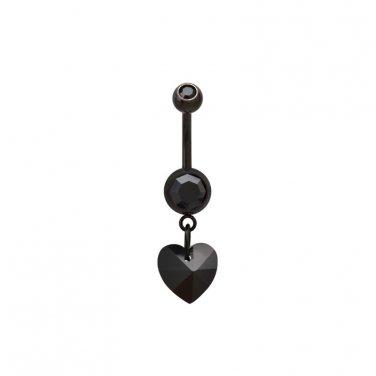 Black Heart Dangling Navel Ring